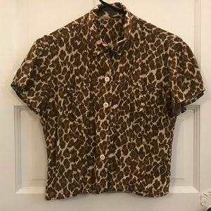 Vintage Leopard Print Button Up